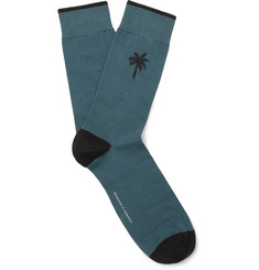 Embroidered Stretch Cotton-blend Socks - Petrol