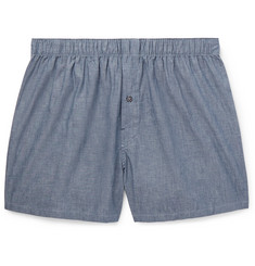 Desmond & Dempsey Cotton-Chambray Boxer Shorts