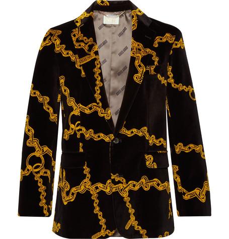 Aries Jackets Black Slim-Fit Printed Cotton-Velvet Suit Jacket