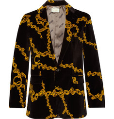 Aries Black Slim-Fit Printed Cotton-Velvet Suit Jacket