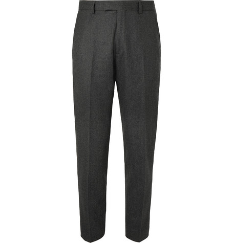 Sandro Pants GREY TAPERED WOOL-FLANNEL TROUSERS
