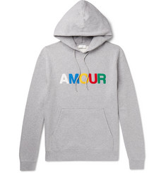 Sandro Appliquéd Mélange Fleece-Back Cotton-Jersey Hoodie