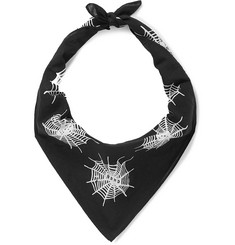 Printed Cotton-voile Bandana - Black