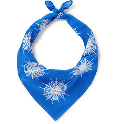 Printed Cotton-voile Bandana - Blue