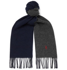 Polo Ralph Lauren Reversible Fringed Wool-Blend Scarf