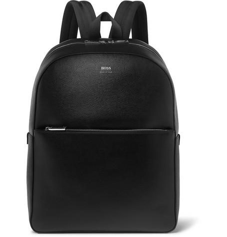 Full Grain Leather Backpack by Hugo Boss
