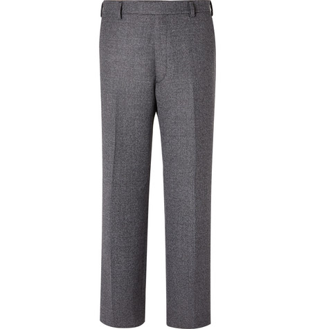 Grey Wide Leg Prince Of Wales Checked Virgin Wool Blend Suit Trousers by Prada