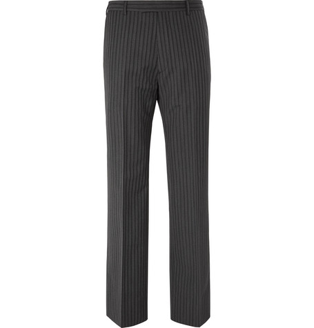 Wide Leg Pinstriped Virgin Wool And Mohair Blend Trousers by Prada