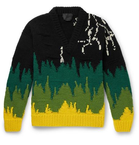 Intarsia Virgin Wool Sweater by Prada