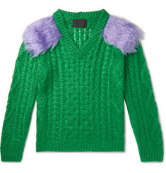 Prada - Two-Tone Cable-Knit Mohair-Blend Sweater