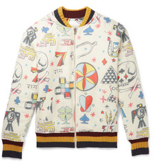 The Elder Statesman Reversible Printed Wool, Cashmere and Cotton-Blend Bomber Jacket