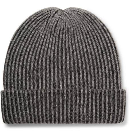 The Elder Statesman Watchman 2 Striped Ribbed Cashmere Beanie In Gray