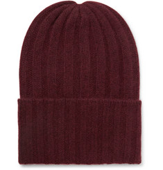 The Elder Statesman Short Bunny Echo Ribbed Cashmere Beanie