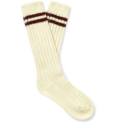 Yosemite Ribbed Striped Cashmere Socks by The Elder Statesman