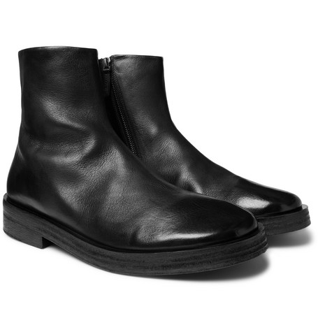 Listone Burnished-leather Chelsea Boots - Black