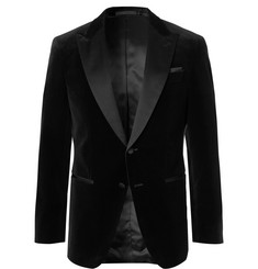 Hugo Boss Black Helward Slim-Fit Satin-Trimmed Cotton-Velvet Tuxedo Jacket