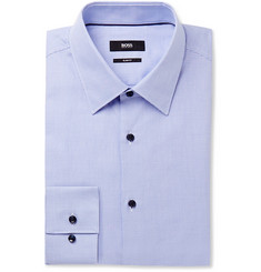 Hugo Boss Blue Jano Slim-Fit Puppytooth Cotton Shirt