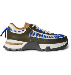 Ermenegildo Zegna Claudio Leather and Nylon-Mesh Sneakers
