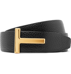 TOM FORD 3cm Black and Brown Reversible Full-Grain Leather Belt