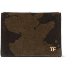 TOM FORD Camouflage-Print Suede Bifold Cardholder