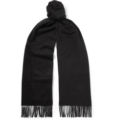 TOM FORD Fringed Logo-Embroidered Brushed Silk Scarf