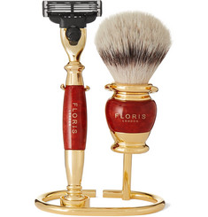 Floris London - Three-Piece Gold-Plated and Briarwood Shaving Set