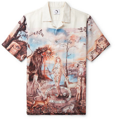 Endless Joy Mandeville's Trip Camp-Collar Printed Tencel Shirt
