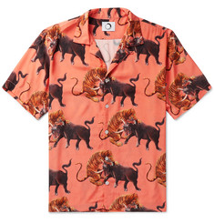 Endless Joy Macan Camp-Collar Printed Woven Shirt