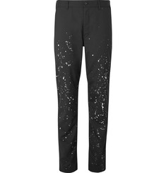Comme des Garçons HOMME Charcoal Slim-Fit Paint-Splattered Wool Trousers