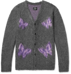 Needles Logo-Intarsia Mohair and Wool-Blend Cardigan
