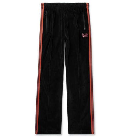 Needles Logo-Embroidered Webbing-Trimmed Cotton-Blend Velour Track Pants