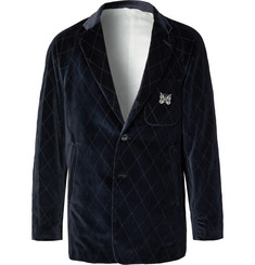 Needles Navy Embroidered Velvet Suit Jacket