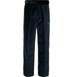 Needles Navy Embroidered Velvet Suit Trousers