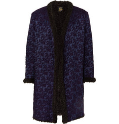 Needles Faux Fur-Lined Wool-Blend Jacquard Coat