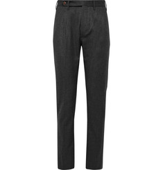 Zanella Charcoal Will Slim-Fit Pleated Virgin Wool-Twill Trousers