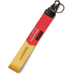 Off-White Leather-Trimmed Printed Webbing Key Fob