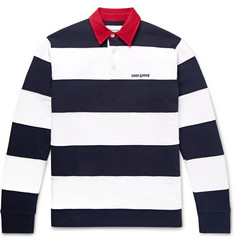 Noon Goons Fielders Twill-Trimmed Striped Fleece-Back Cotton-Jersey Rugby Shirt