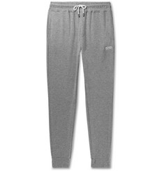 Hugo Boss Tapered Double-Faced Mélange Cotton-Blend Jersey Sweatpants