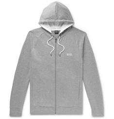Hugo Boss Double-Faced Mélange Cotton-Blend Jersey Zip-Up Hoodie