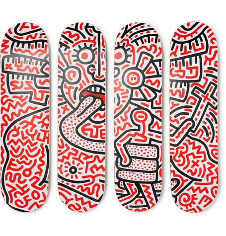 + Keith Haring Set Of Four Printed Wooden Skateboards by The Skate Room