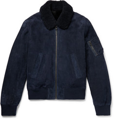 Yves Salomon - Shearling-Lined Suede Down Bomber Jacket