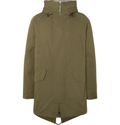 Yves Salomon Faux Shearling-Lined Cotton-Blend Hooded Fishtail Parka