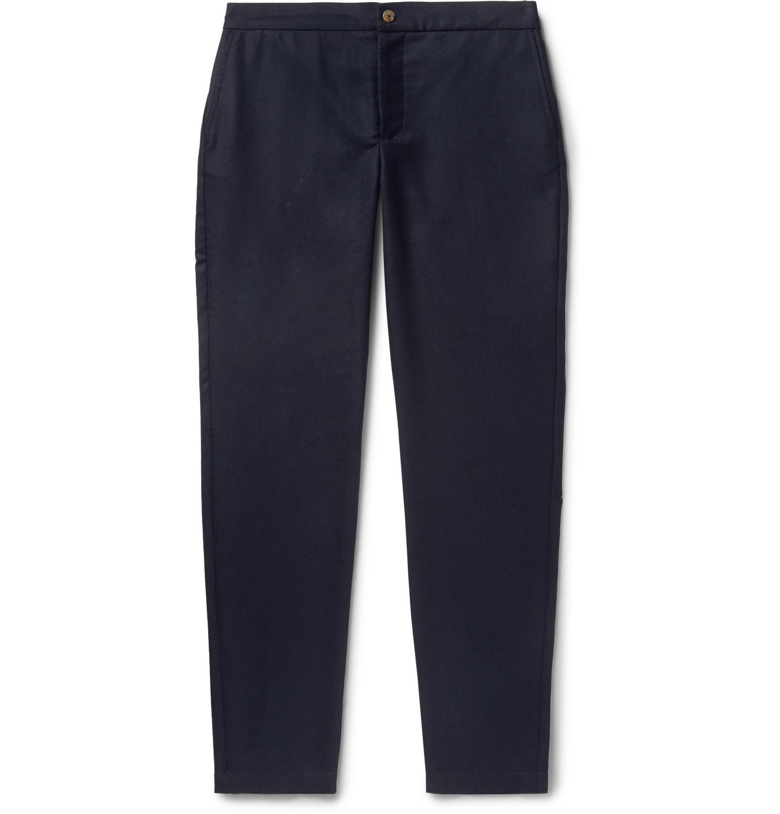 De Bonne Facture - Navy Tapered Wool-Twill Drawstring