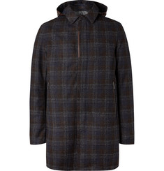 Herno Laminar Checked Virgin Wool-Blend Hooded Coat