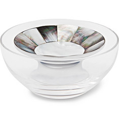 Lorenzi Milano Crystal, Mother-Of-Pearl And Chrome-Plated Caviar Bowl