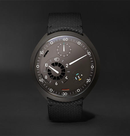 Ressence Type 2A Mechanical 45mm Titanium and Leather Watch with Smart Crown Technology