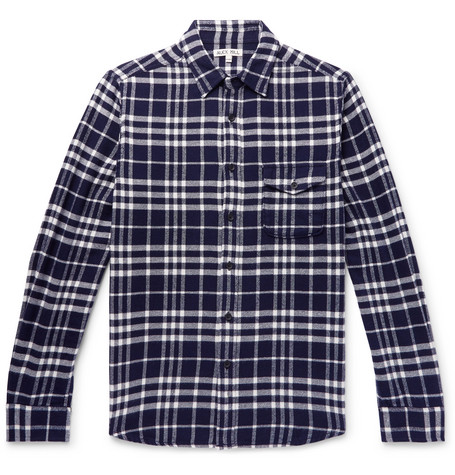 Alex Mill Checked Cotton-Flannel Shirt In Blue