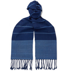 Il Bussetto Fringed Indigo-Dyed Striped Slub Cotton Scarf