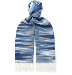 Il Bussetto - Fringed Indigo-Dyed Cotton Scarf