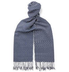 Il Bussetto Fringed Indigo-Dyed Cotton-Jacquard Scarf